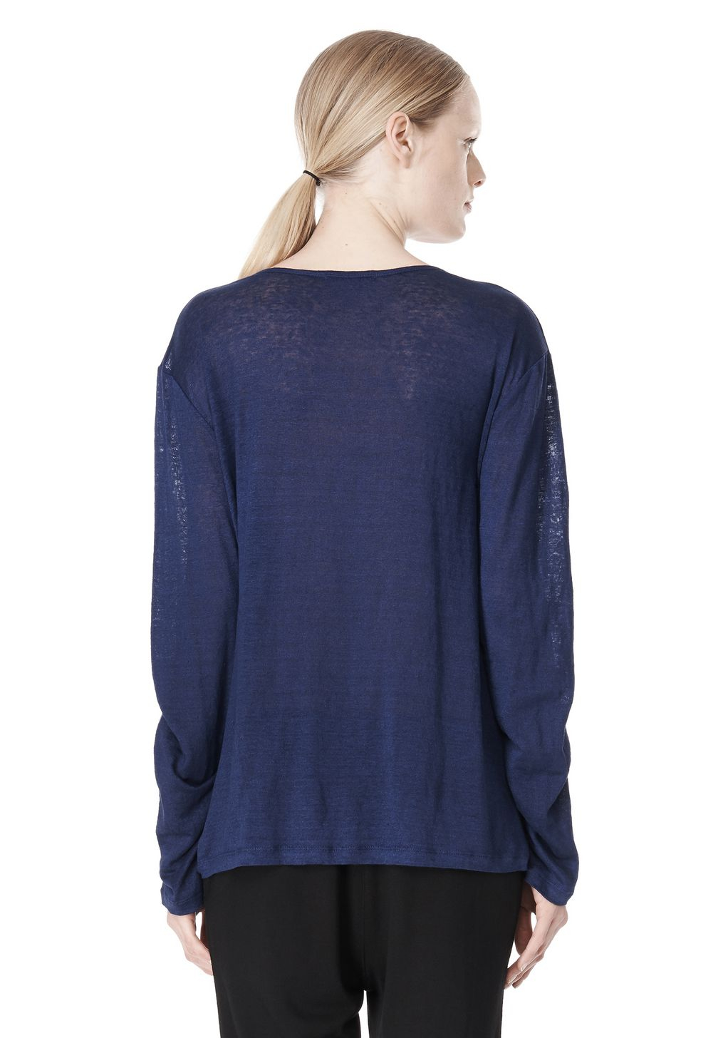 Alexander wang linen silk jersey long sleeve tee in blue for Adam lippes women s long sleeve vee t shirt