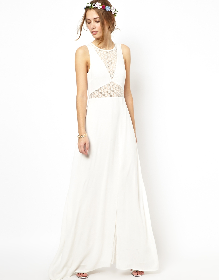 def5661fcc Jarlo Noah Maxi Dress with Sheer Lace Panels in White - Lyst