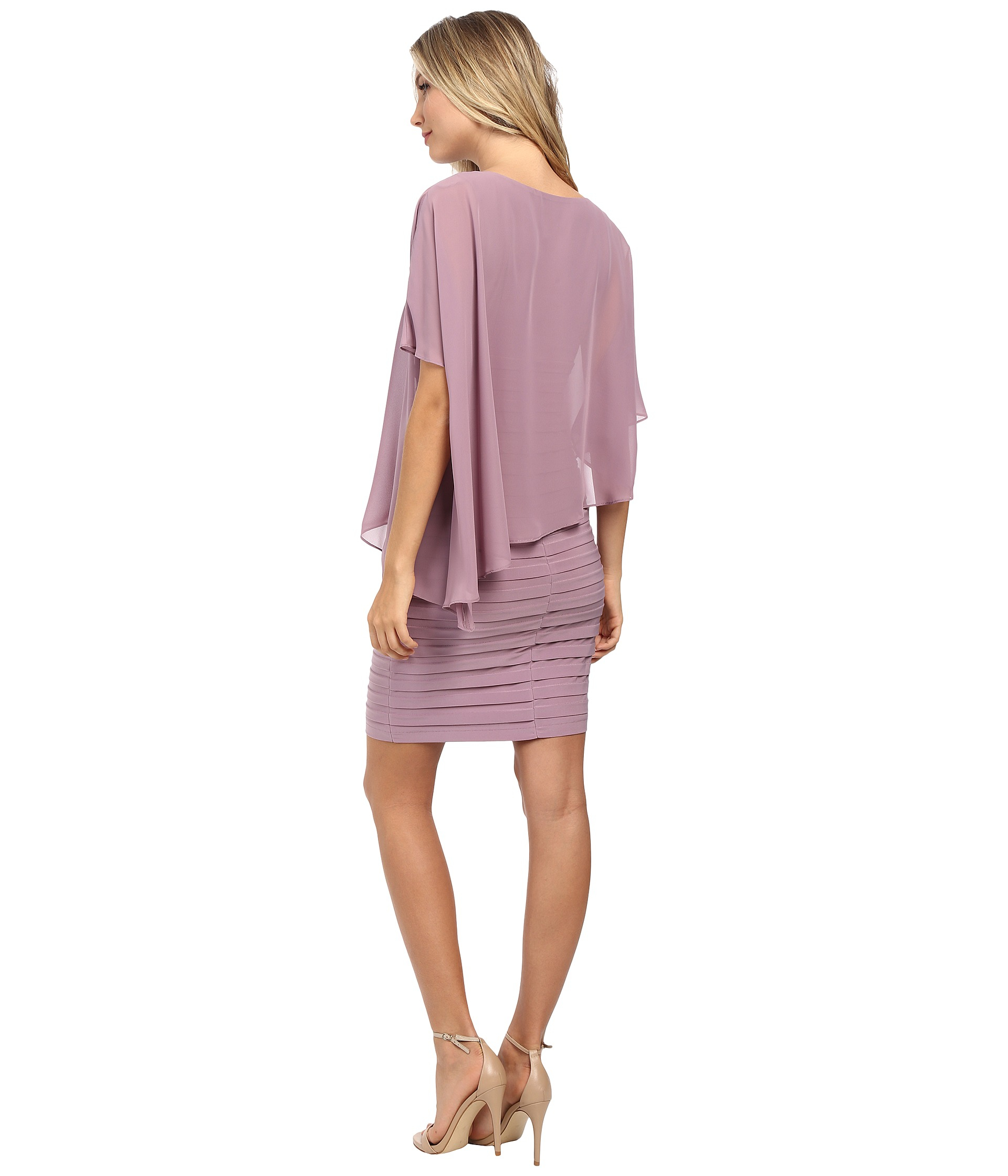 9fbd9752fbde Adrianna Papell Chiffon Drape Overlay With Banding in Pink - Lyst