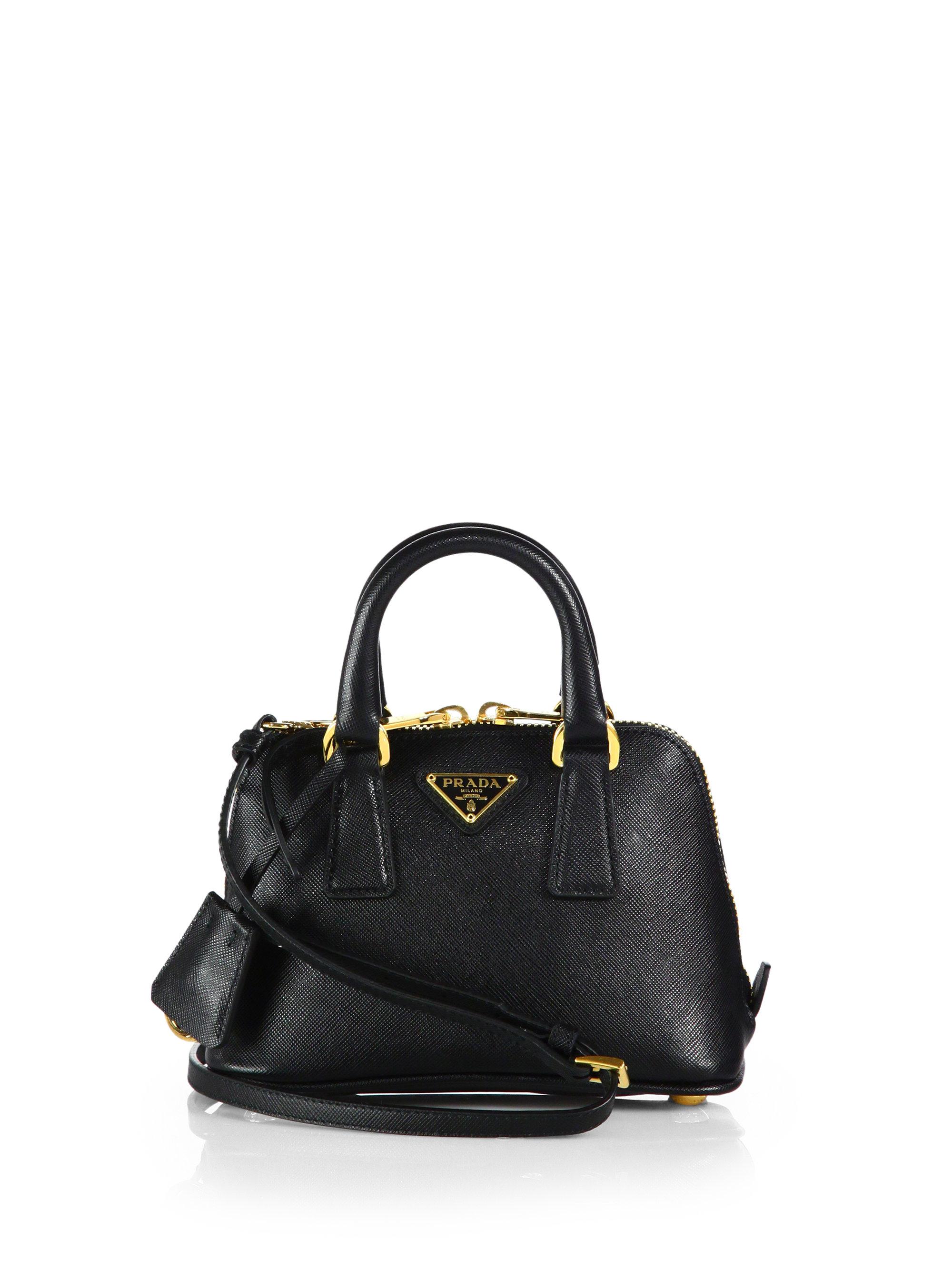 Prada Saffiano Lux Double Handle Mini Satchel in Black (NERO-BLACK ...