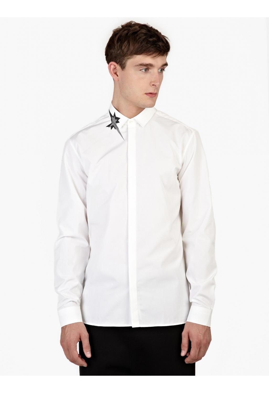 Neil barrett white cotton kaboom collar shirt in white for Neil barrett tuxedo shirt