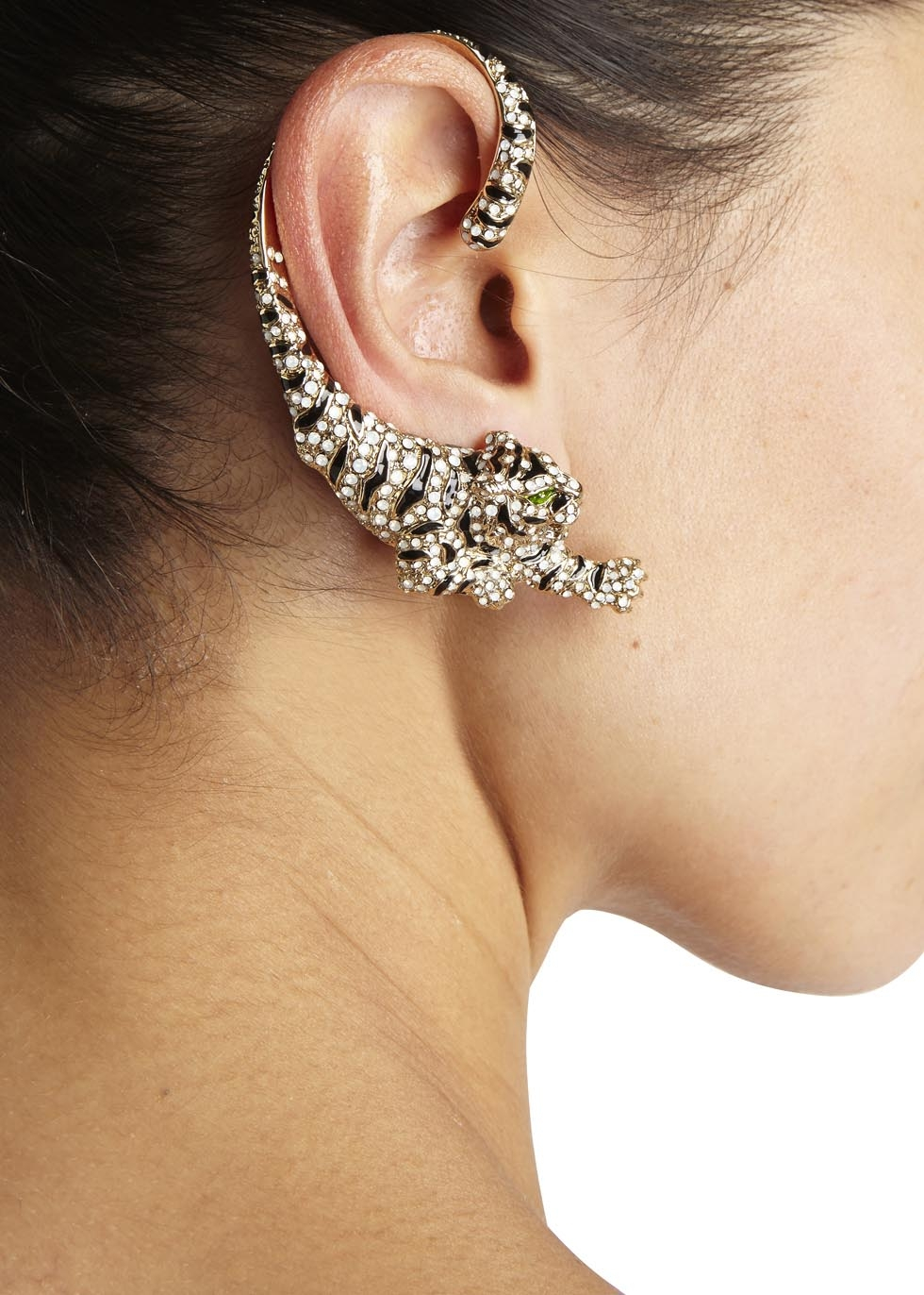 Roberto Cavalli Gold Plated Swarovski Crystal Tiger Ear