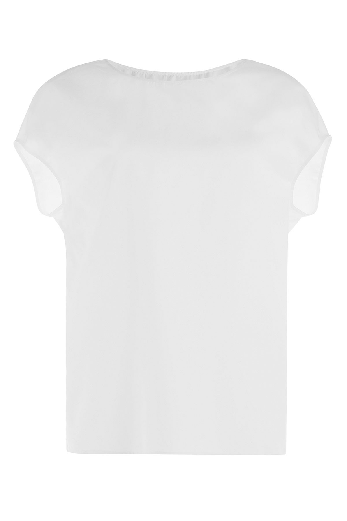 Agnona cotton silk t shirt in white lyst for Cotton silk tee shirts