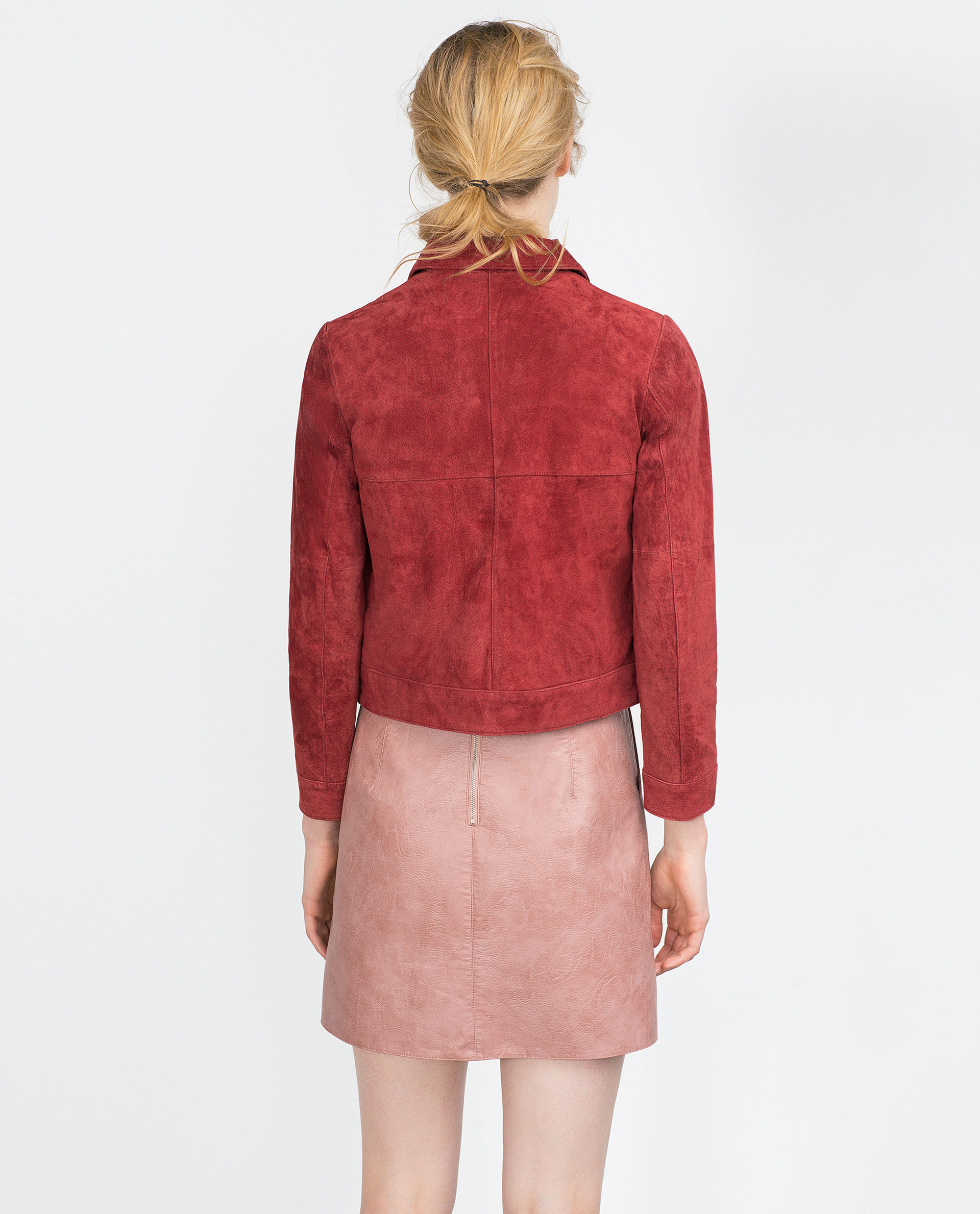 zara faux leather skirt in pink pink lyst