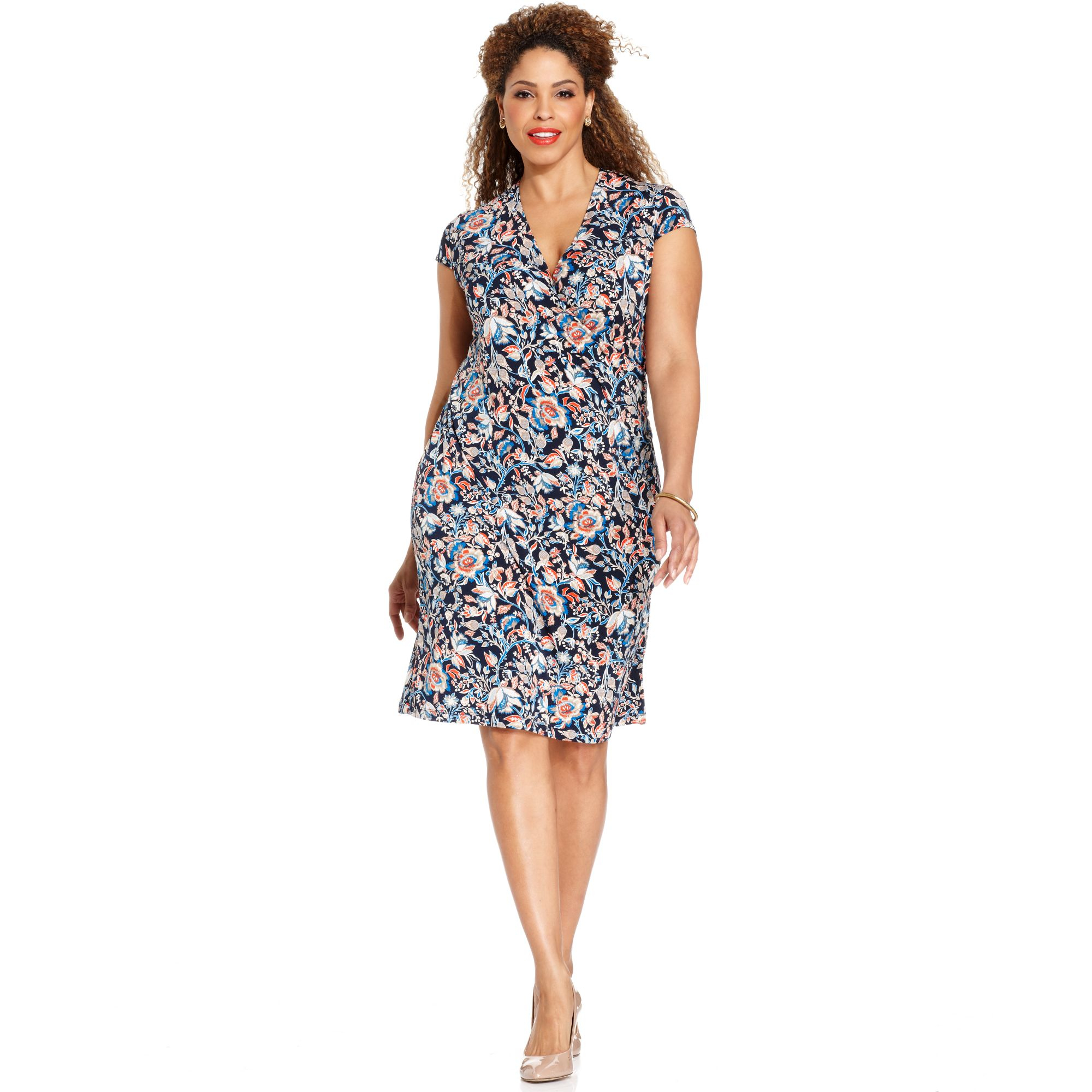 Signature Plus Size Cap Sleeve Floral Print Faux Wrap Dress