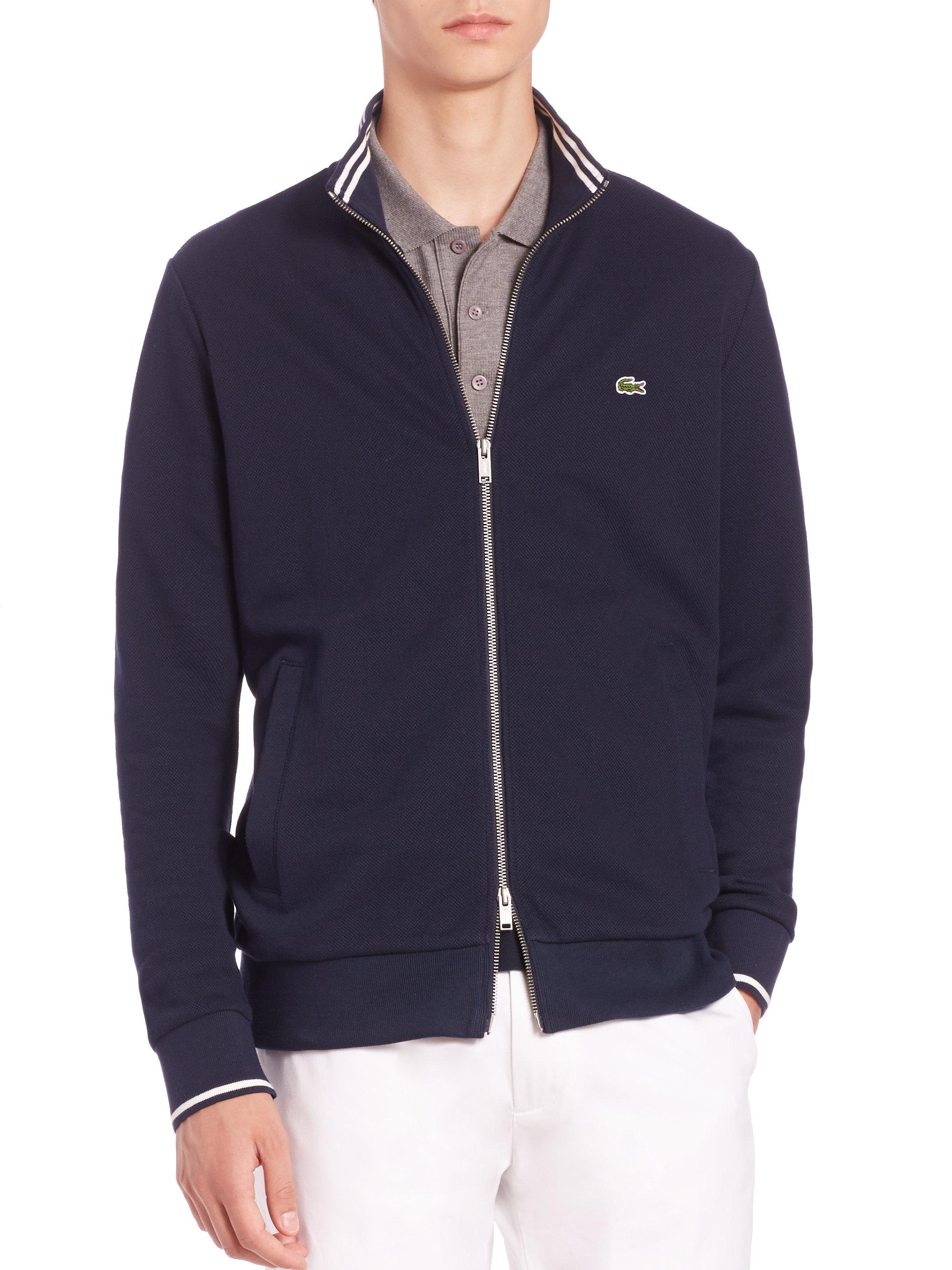 2ac7cf95c6 Lacoste Blue Zip-front Sweater for men
