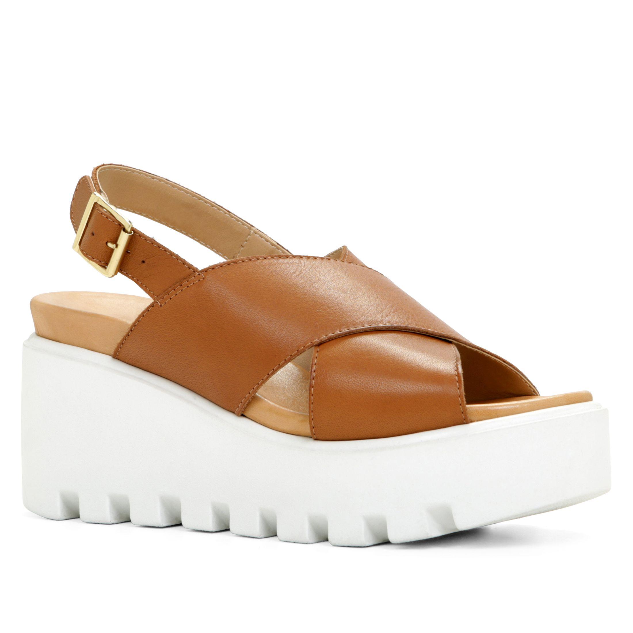 aldo noveglia platform sandals in brown cognac lyst