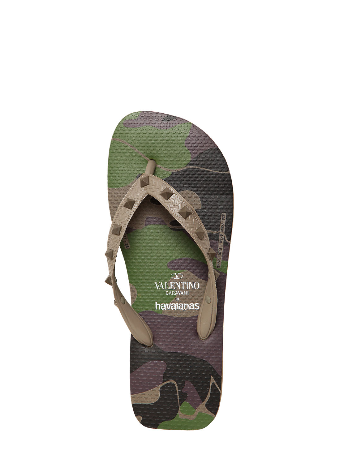 Valentino Rubber Camouflage Studded Flip Flops In Green -2425