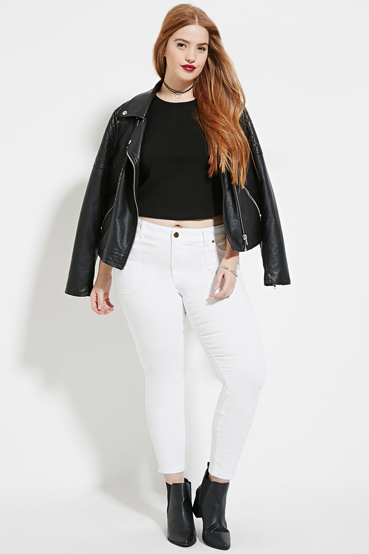 9e4f1402e3f Lyst - Forever 21 Plus Size Skinny Ankle Jeans in White