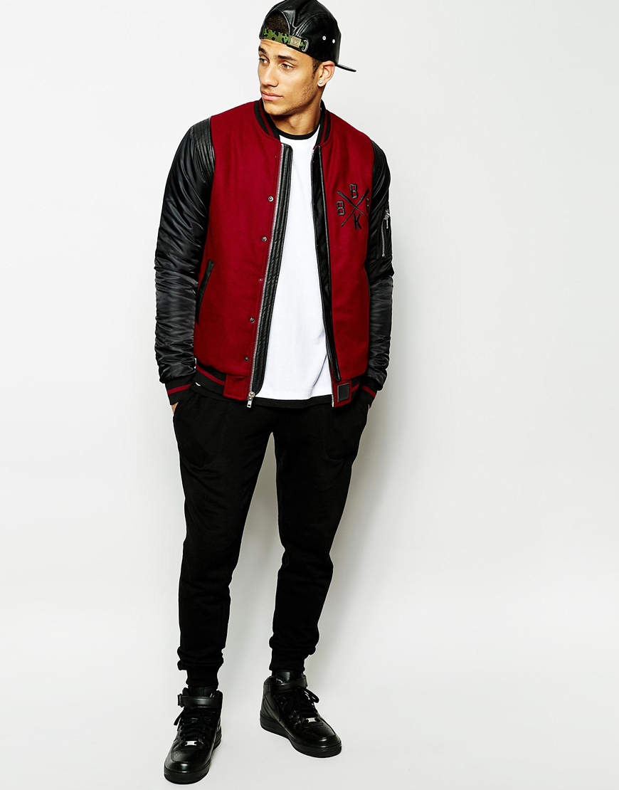 Black kaviar Wool Bomber Jacket With Pu Sleeves in Red for Men | Lyst
