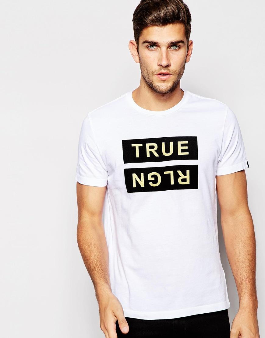 Lyst True Religion T Shirt Metallic Flock Logo In White For Men
