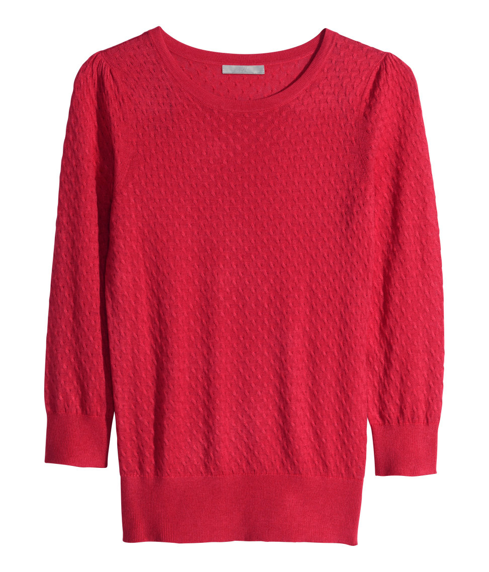 Knitted Jumper Pattern : H&m Pattern-Knit Jumper in Red Lyst