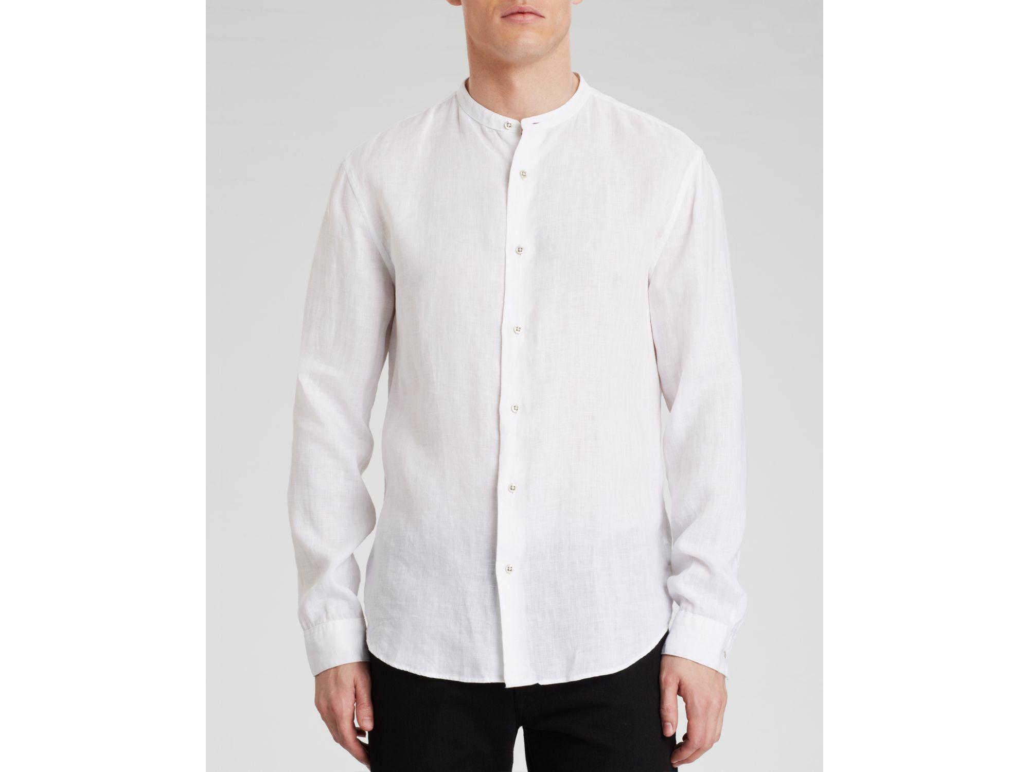 John varvatos star usa banded collar button down shirt for White button down collar shirt