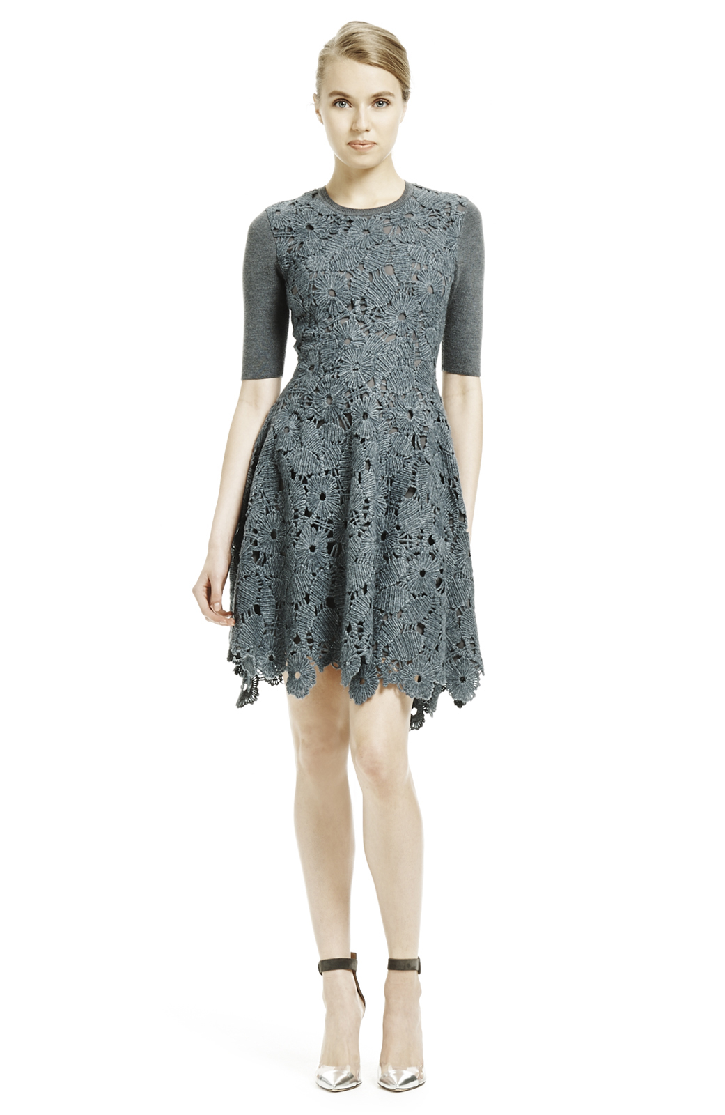 Lela Rose Lace Knitted Dress In Grey