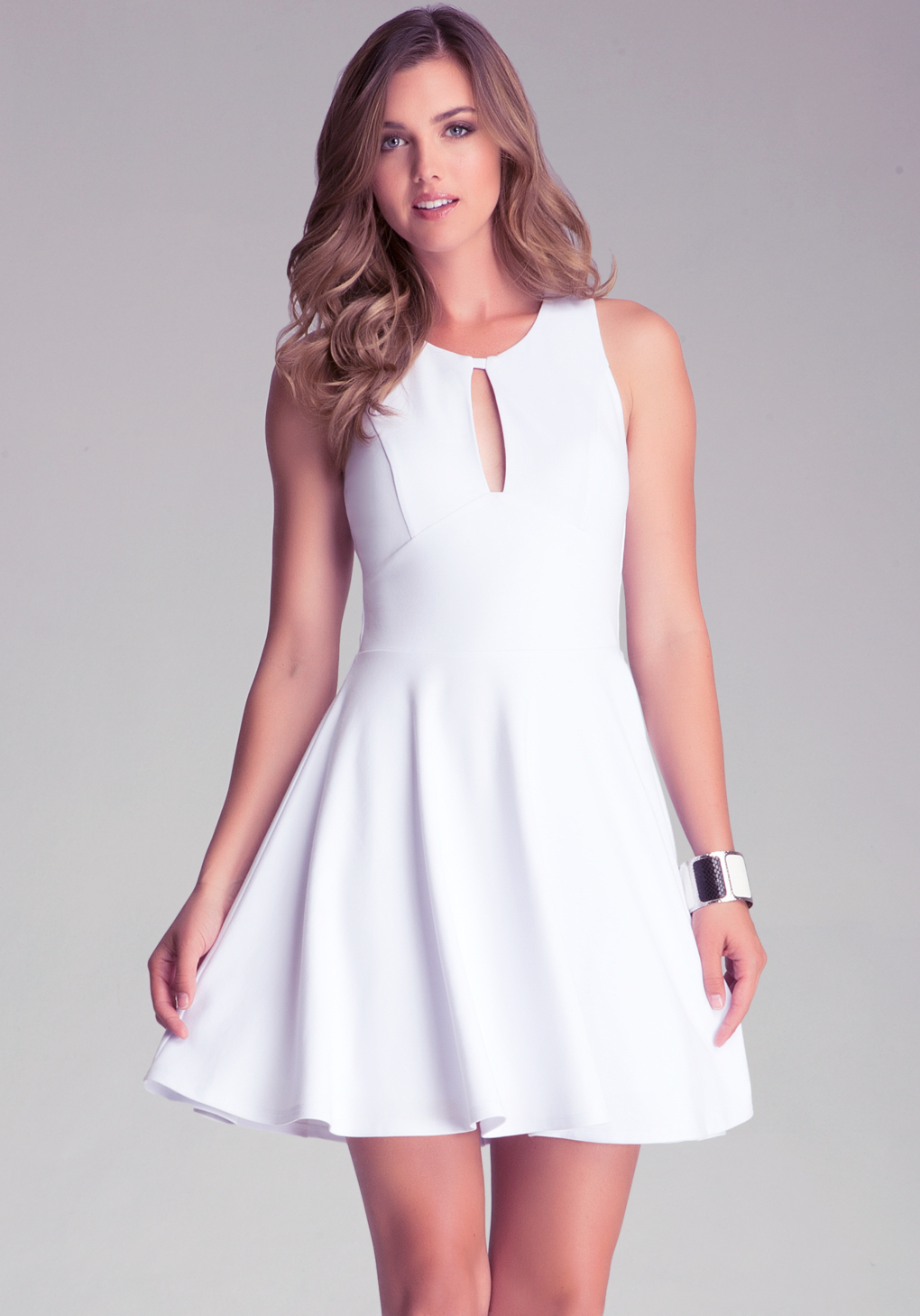 Bebe Fit N Flare Pont Dress In White Lyst
