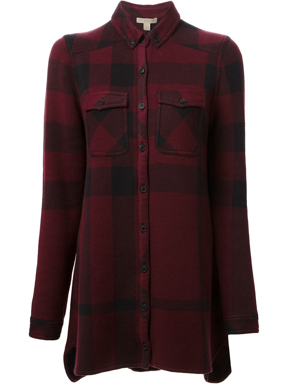 Burberry brit joanna plaid shirt in red lyst for Burberry brit green plaid shirt