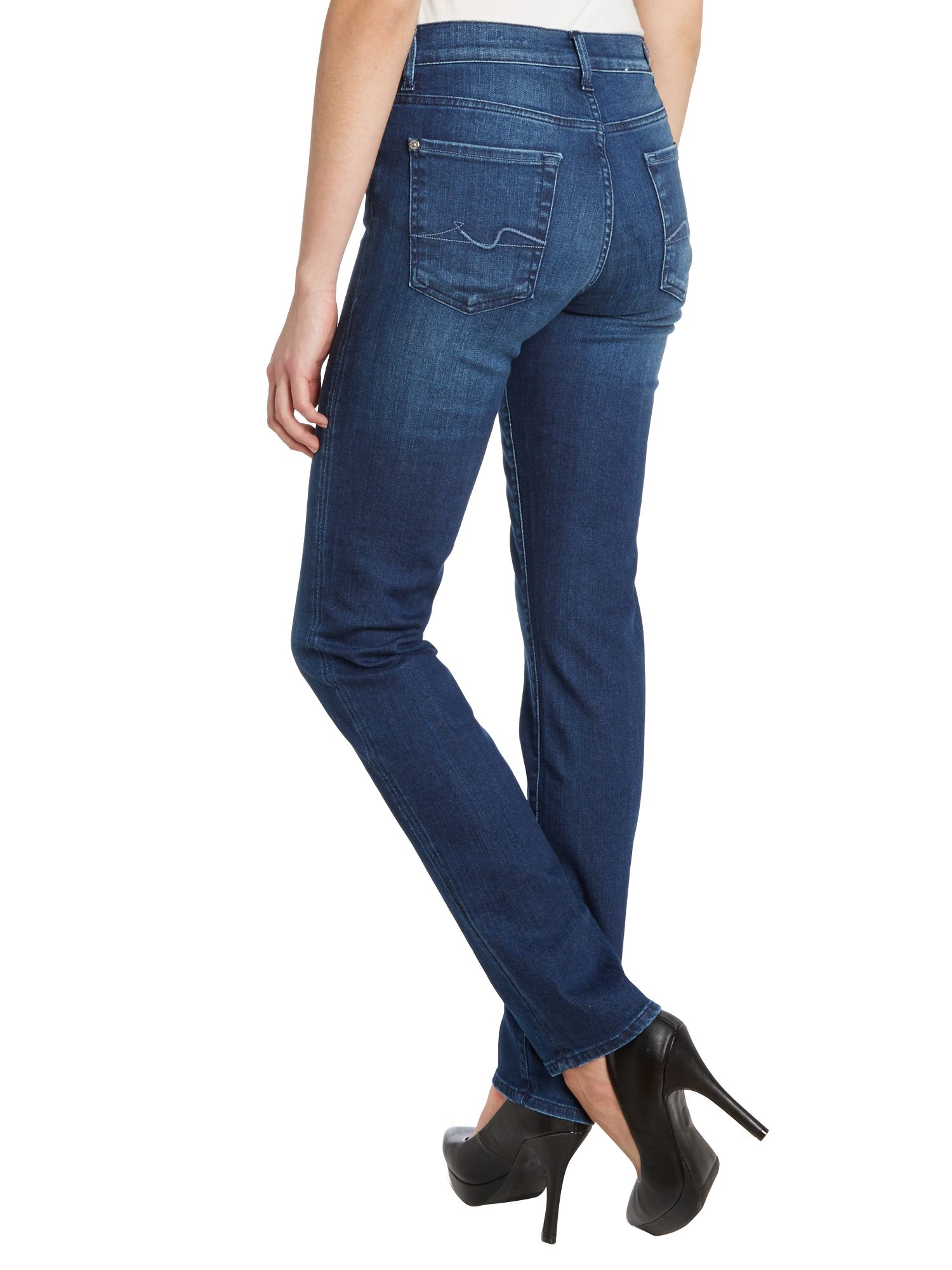 7 for all mankind Rozie Highrise Slim Leg Jeans in Dark Tribe in ...