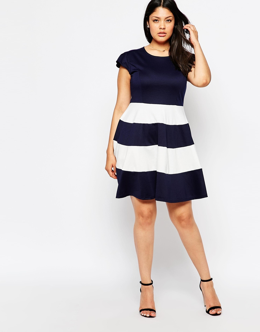 Plus Size Skater Dress With Striped Skirt