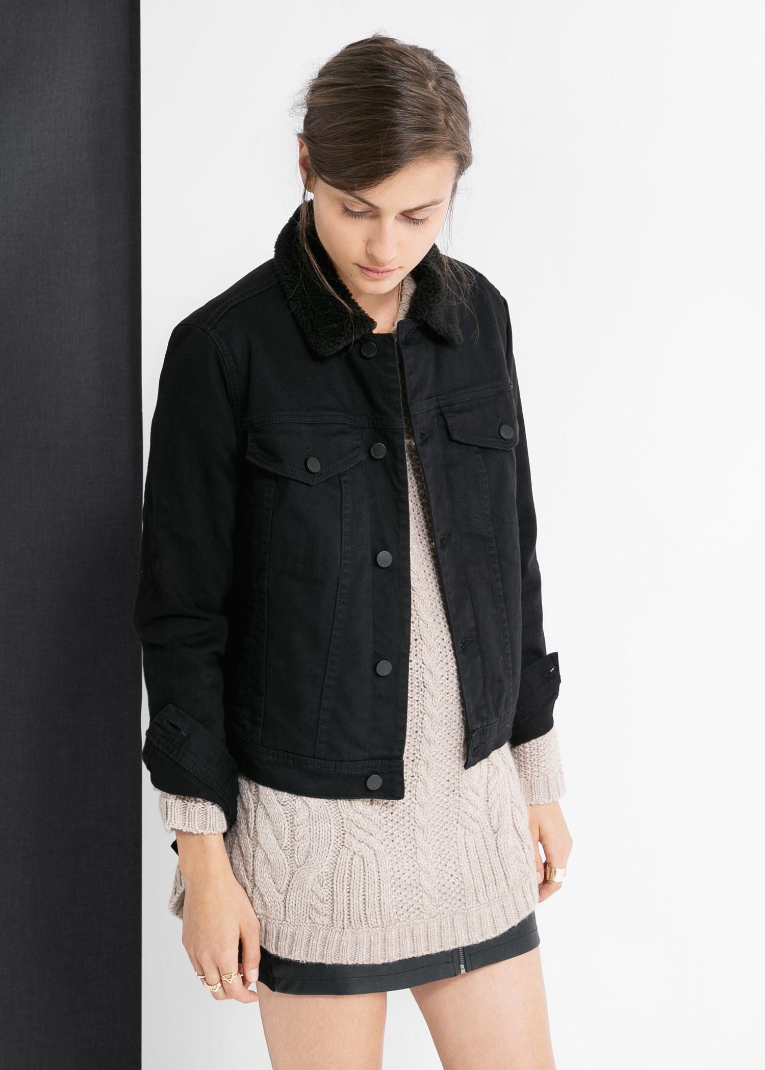Mango Quilted Denim Jacket in Black | Lyst