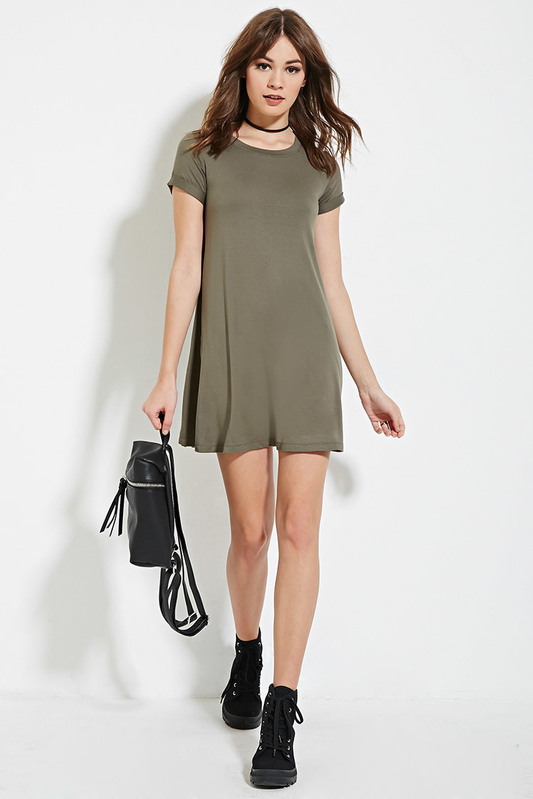 5dfe6ef8b946 Lyst - Forever 21 A-line T-shirt Dress in Green