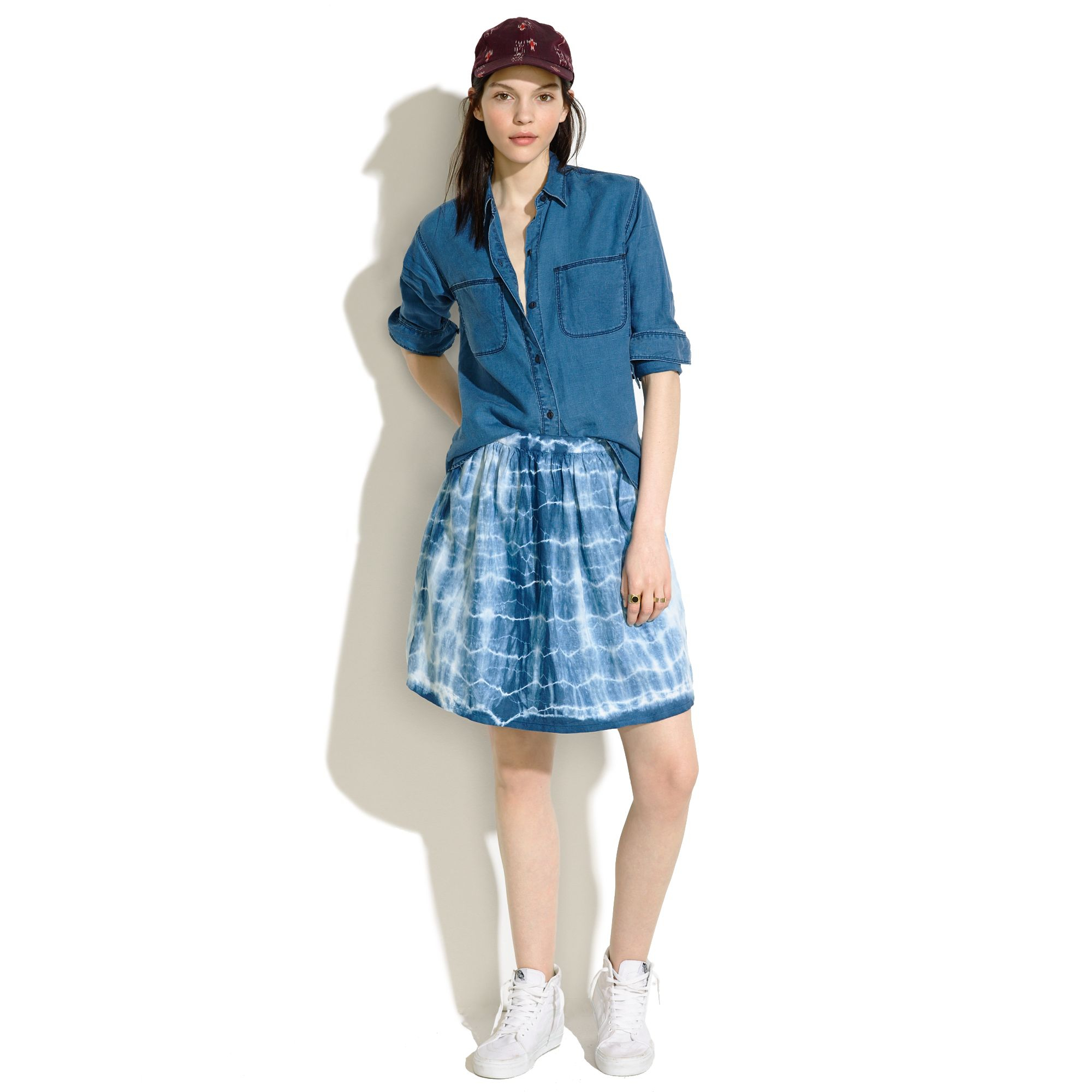 Lyst Madewell Indigo Shibori Linen Skirt In Blue