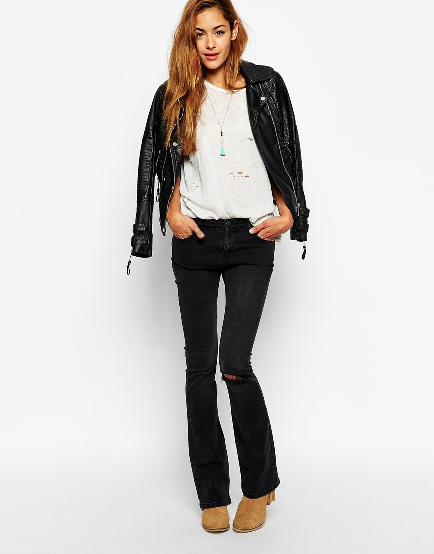 Asos Baby Kick Flare Jeans In Washed Western Black With Ripped ...