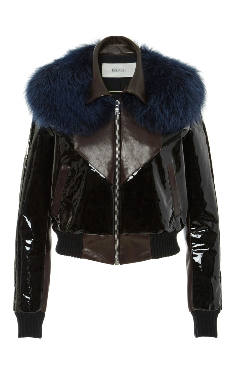 Rodarte Leather Bomber Jacket With Blue Fox Fur Collar in Brown | Lyst