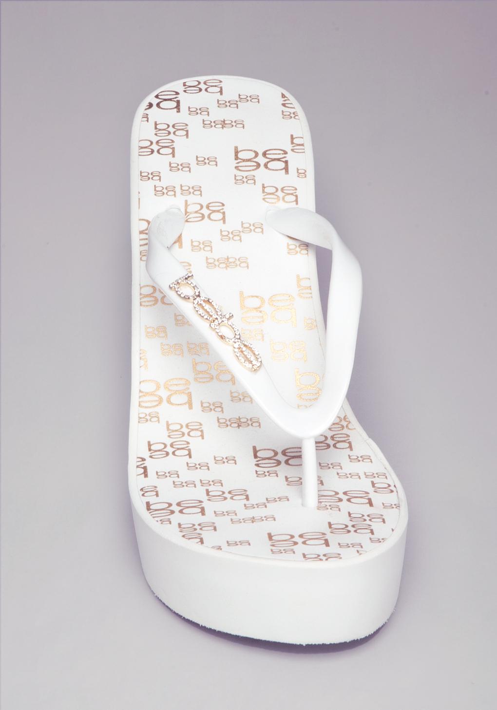 Lyst Bebe Eva Logo High Flip Flops In White