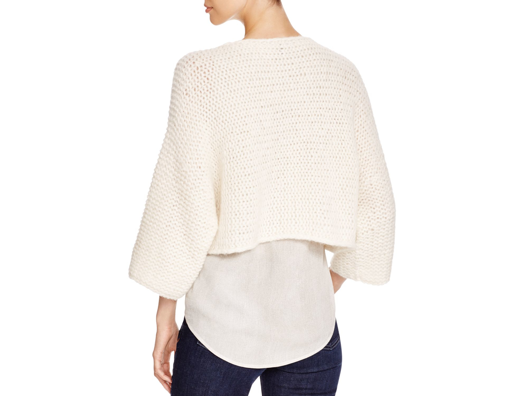 Eileen fisher Cropped Chunky Knit Sweater in Natural | Lyst