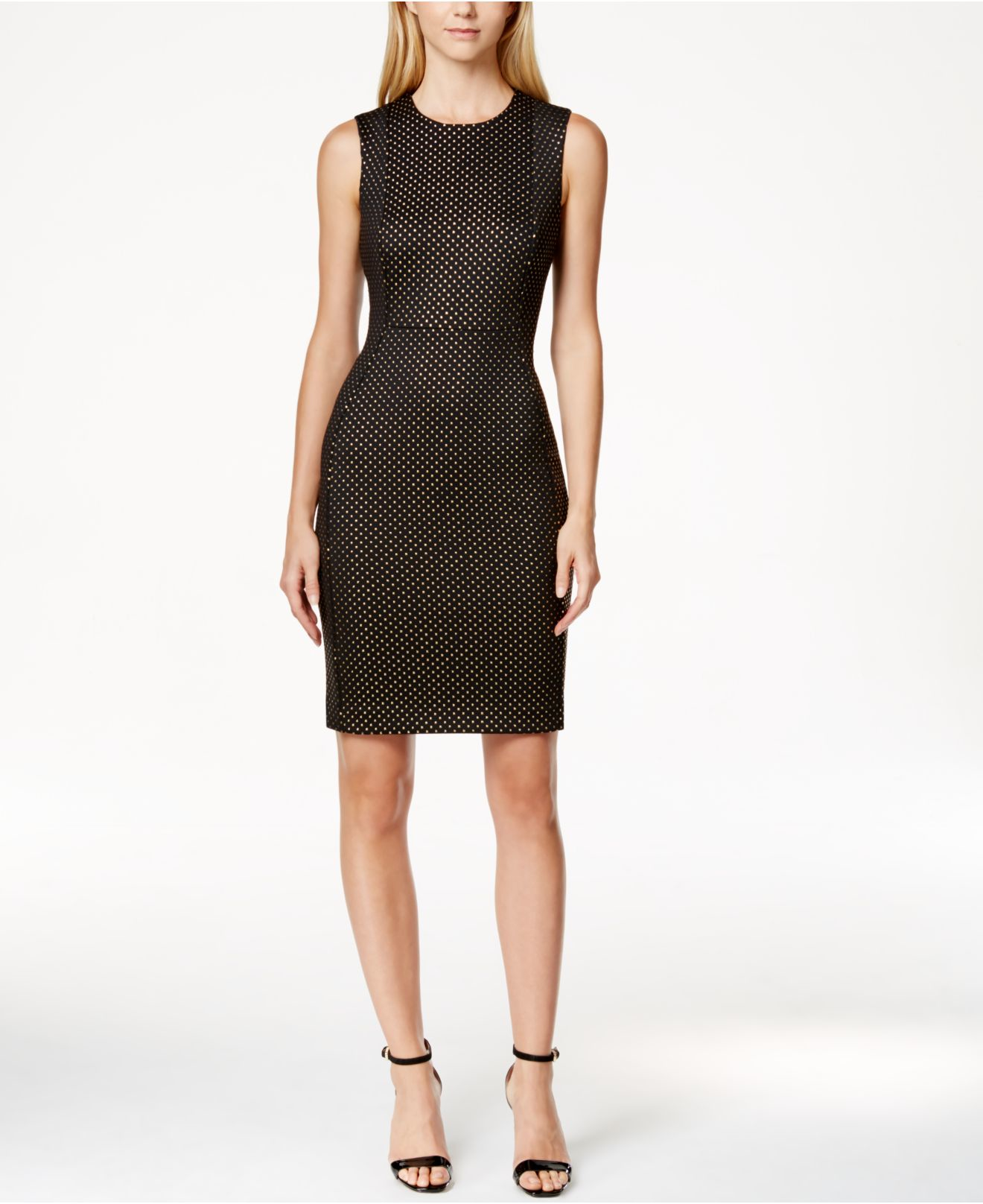 Lyst - Calvin Klein Petite Studded Sheath Dress In Black
