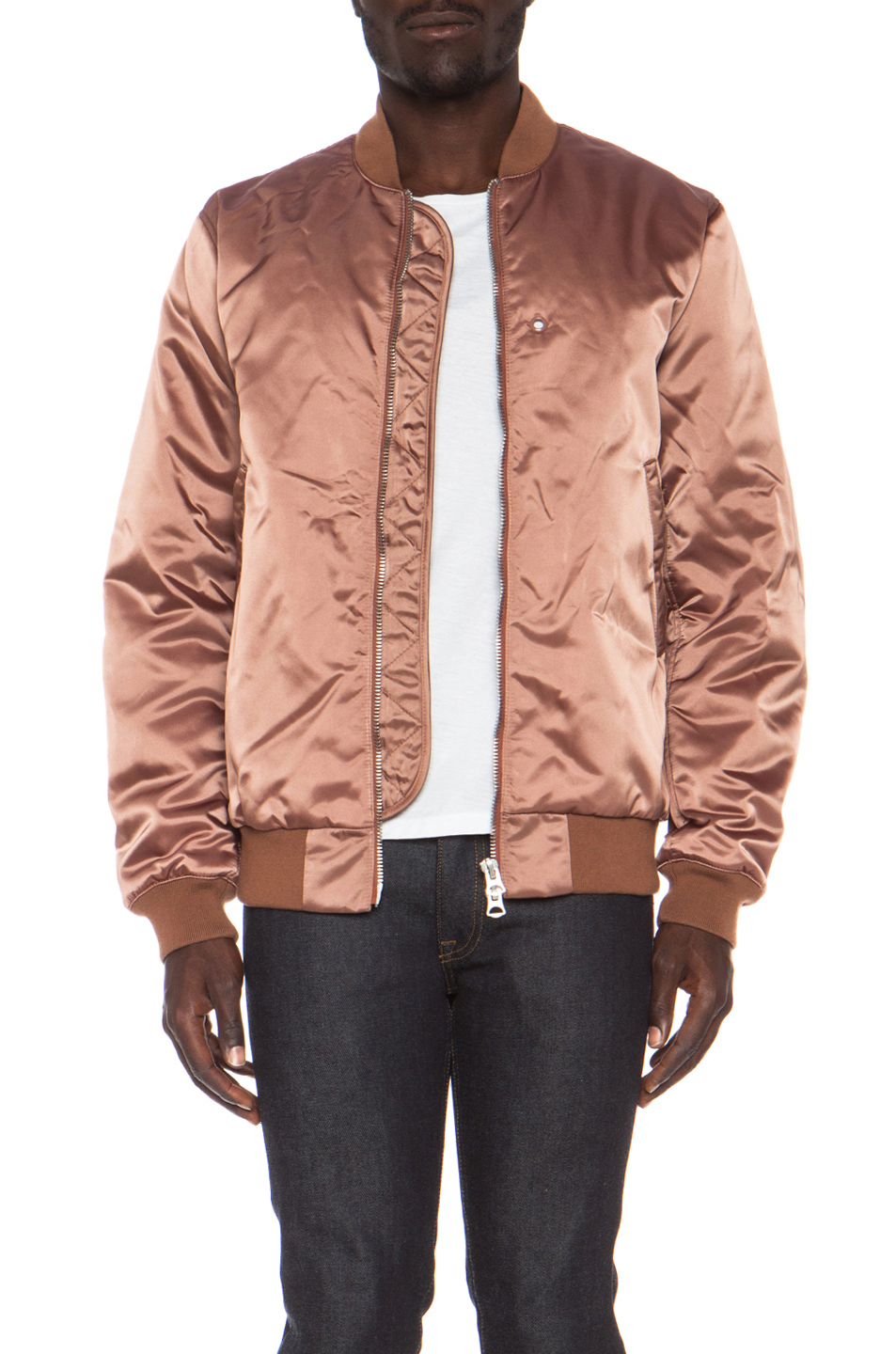 Lyst Acne Studios Melo Satin Bomber Jacket In Pink