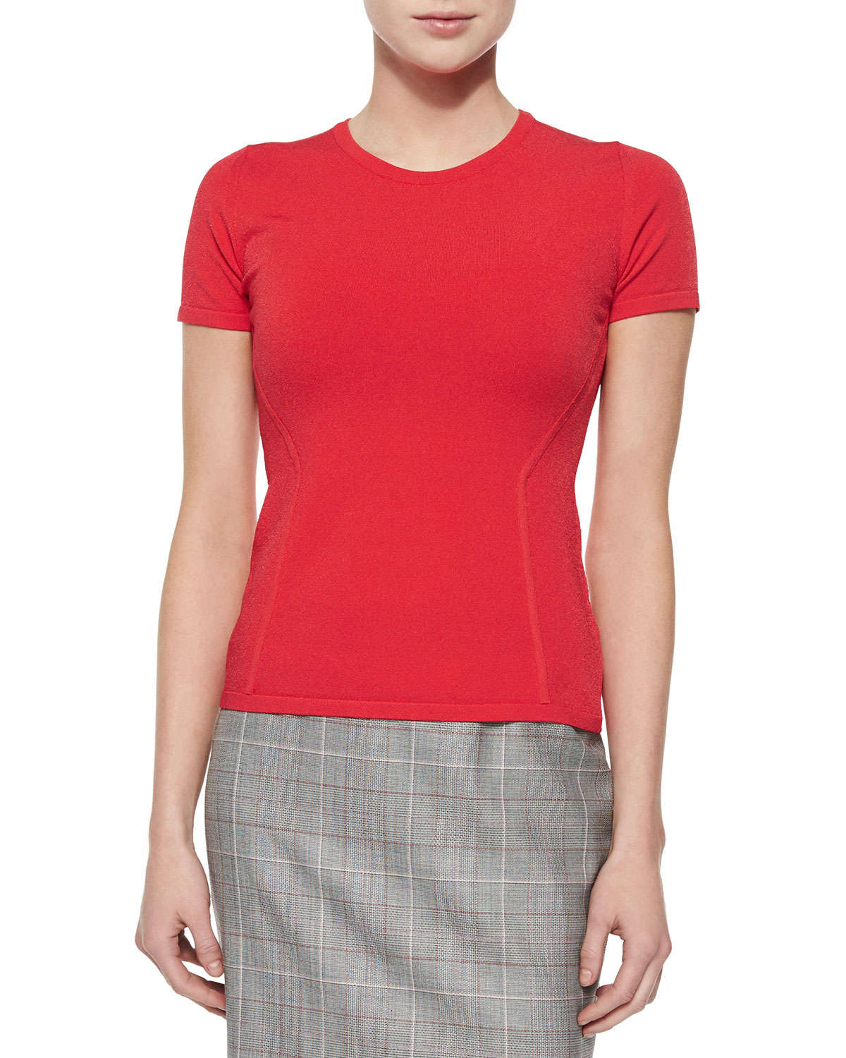 Lyst - Escada Short-sleeve Fitted Top in Red 16ecc1543