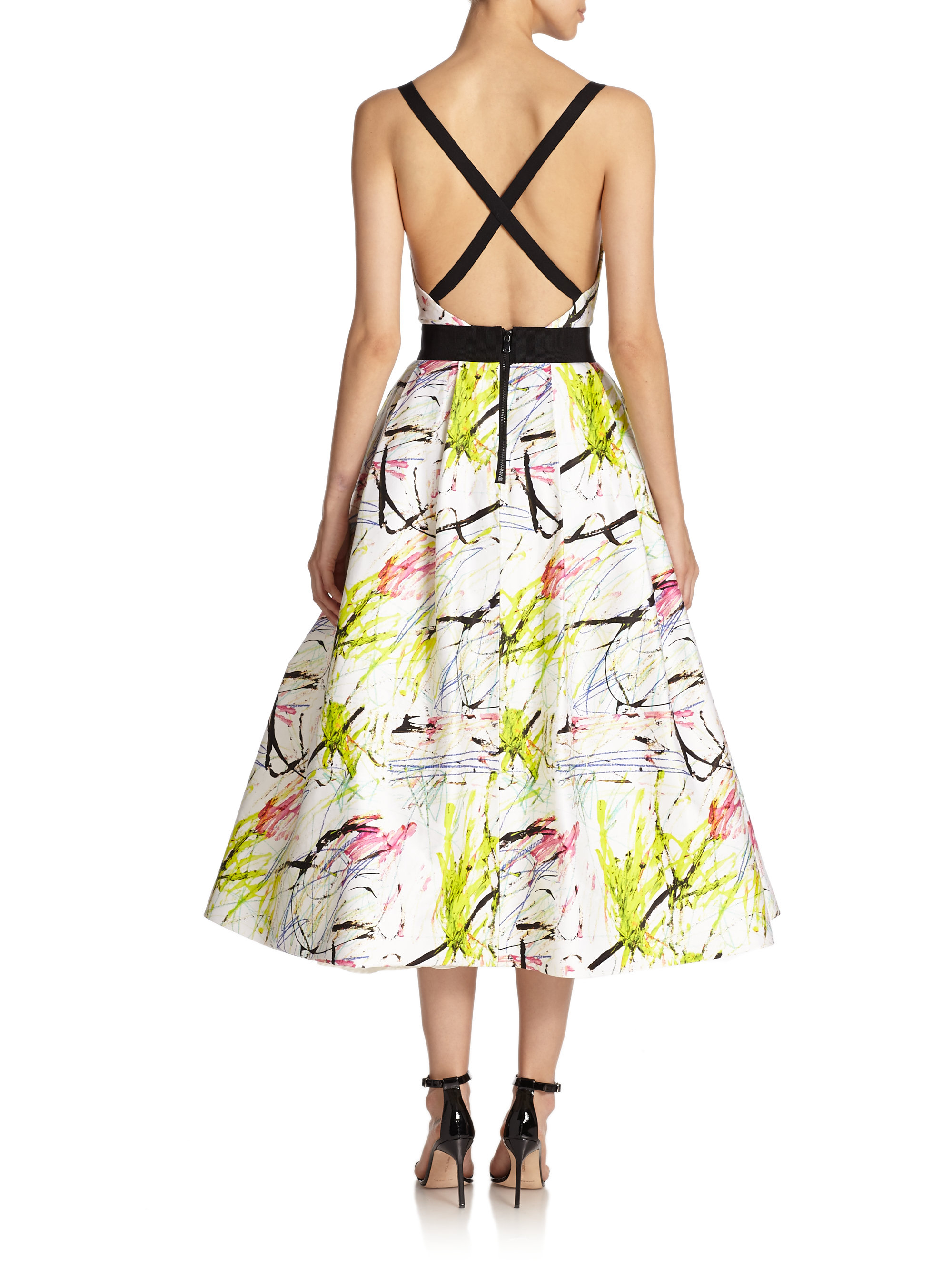 Lyst - Milly Serena Scribble-Print Cocktail Dress