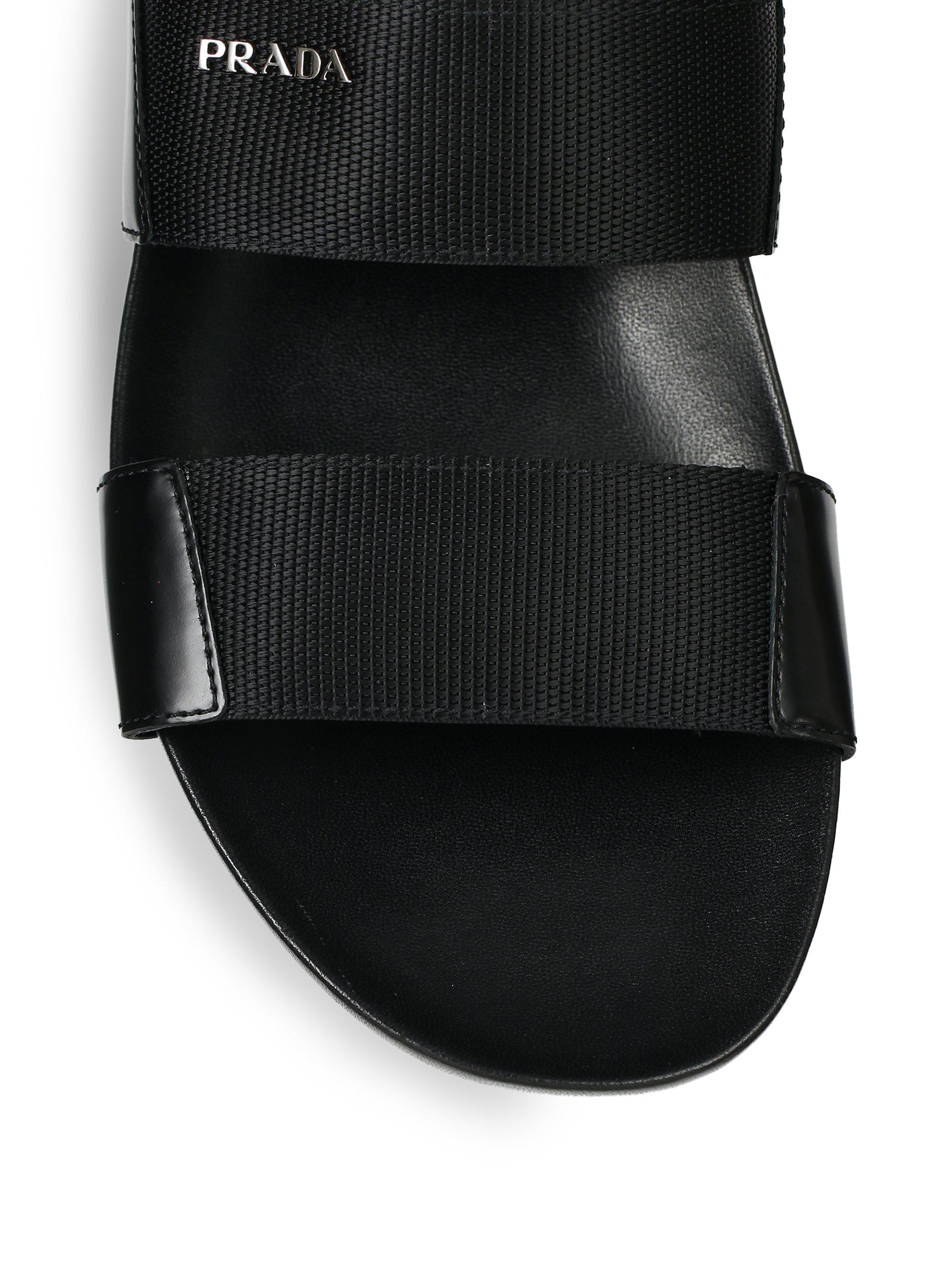 2031b329421e Lyst - Prada Double-Strap Nylon Sandals in Black for Men