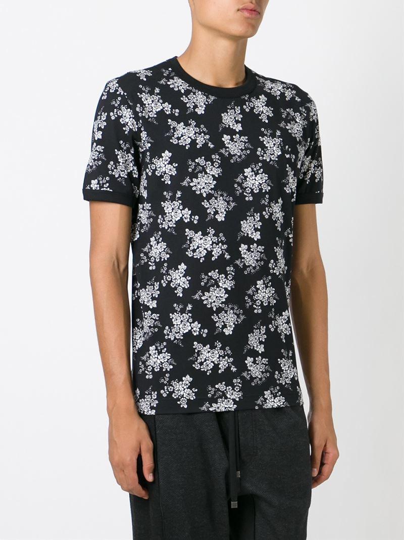 dolce gabbana flower print t shirt in black for men lyst. Black Bedroom Furniture Sets. Home Design Ideas