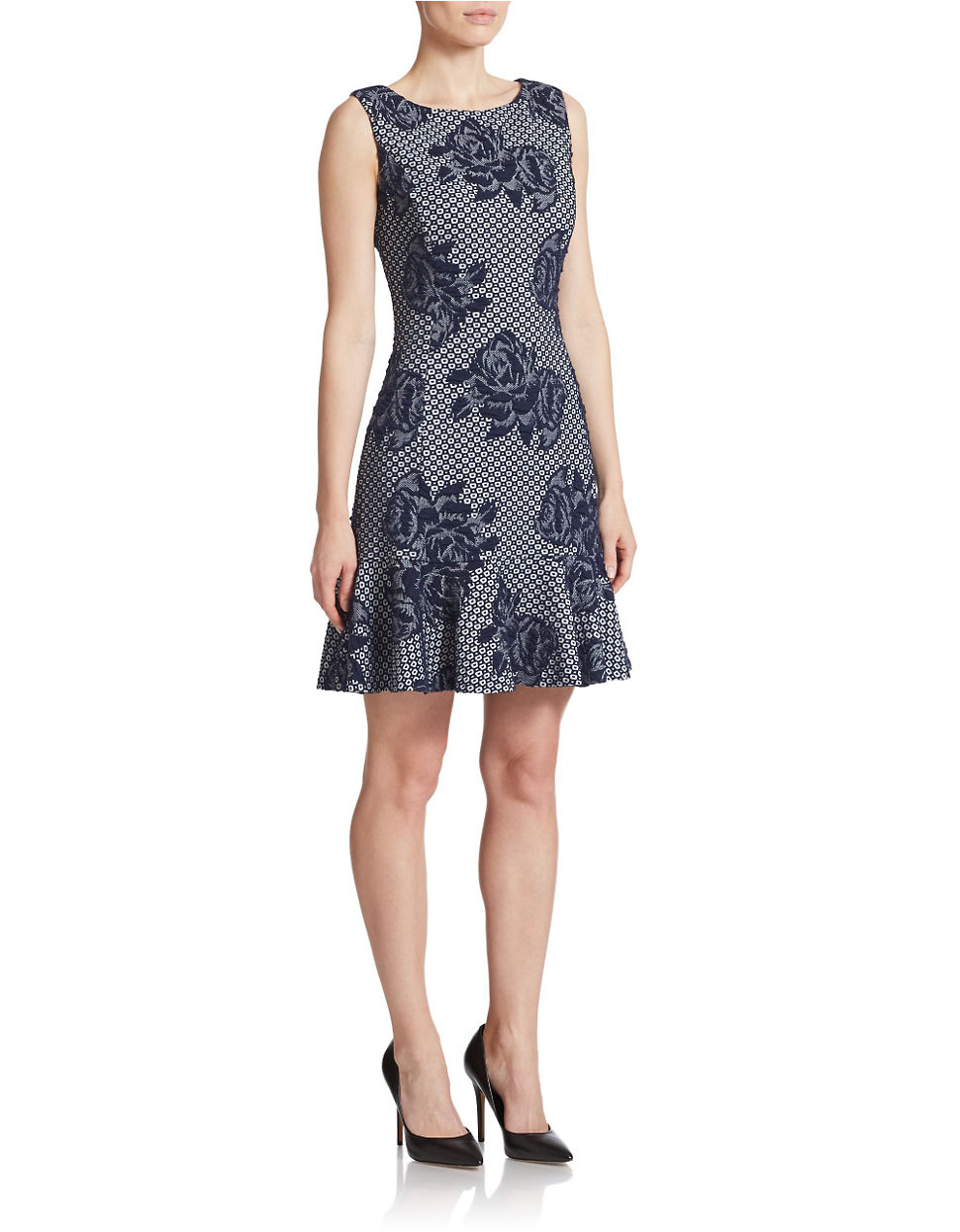 Betsey Johnson Rose Lace Fit And Flare Dress In Blue Lyst