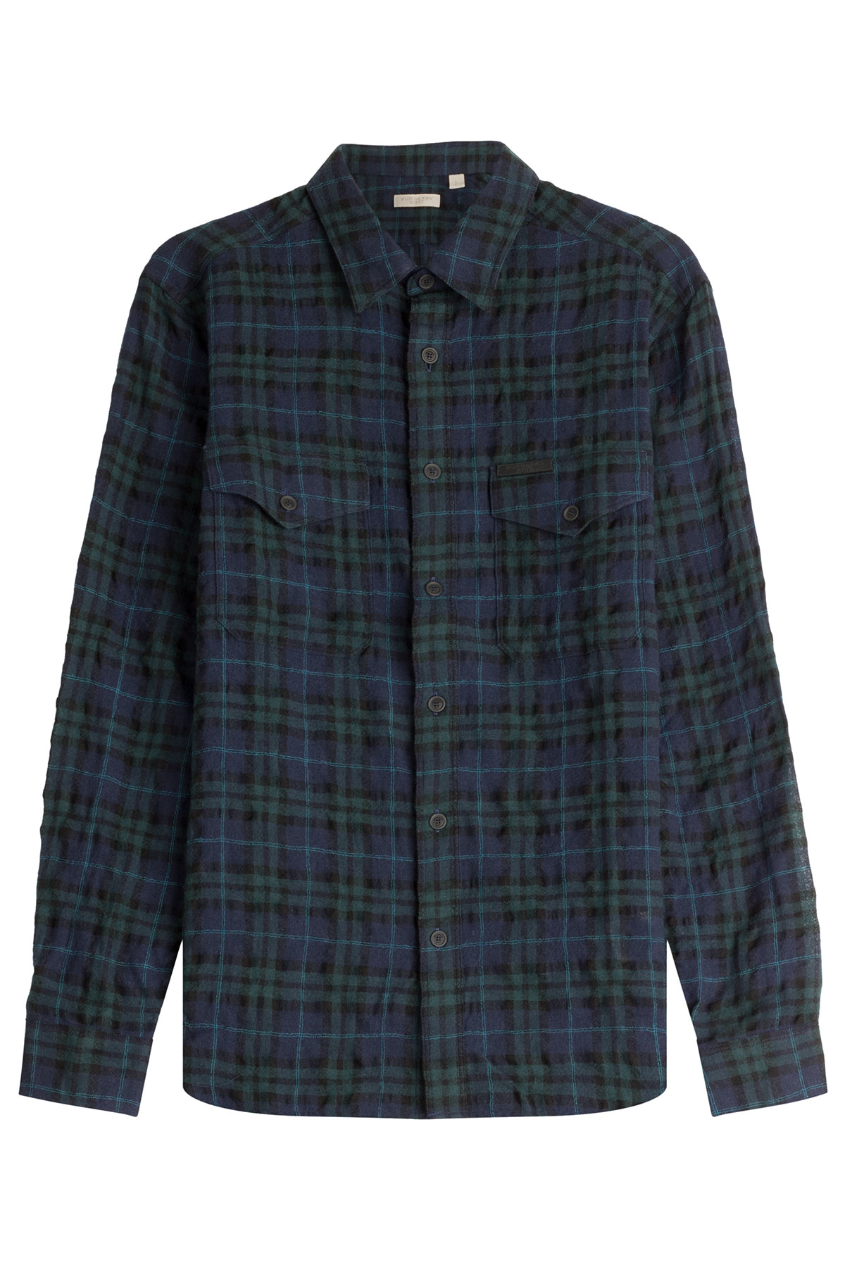 Burberry brit checked cotton shirt multicolor in green for Burberry brit checked shirt