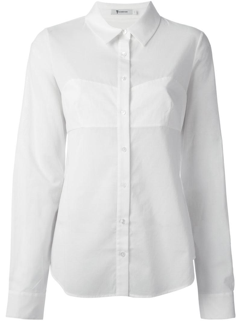 T by alexander wang bra insert shirt in white save 60 for White bra white shirt