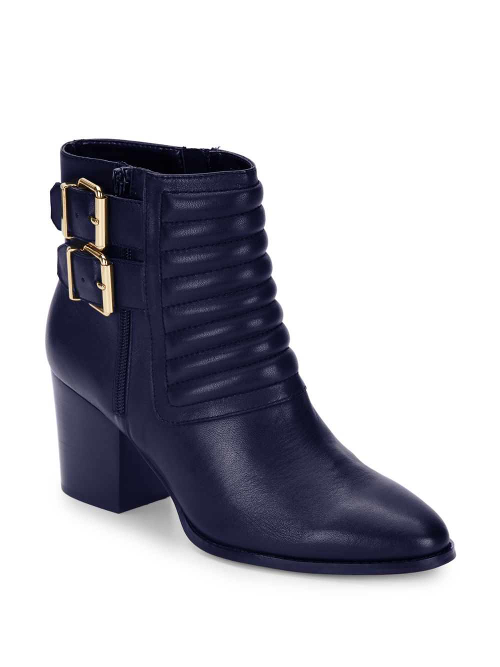 saks fifth avenue whitley leather quilted ankle boots in