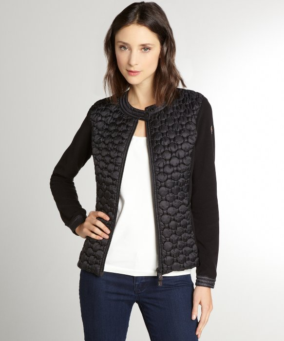 Moncler Black Quilted and Fleece Collarless Jacket in Black | Lyst
