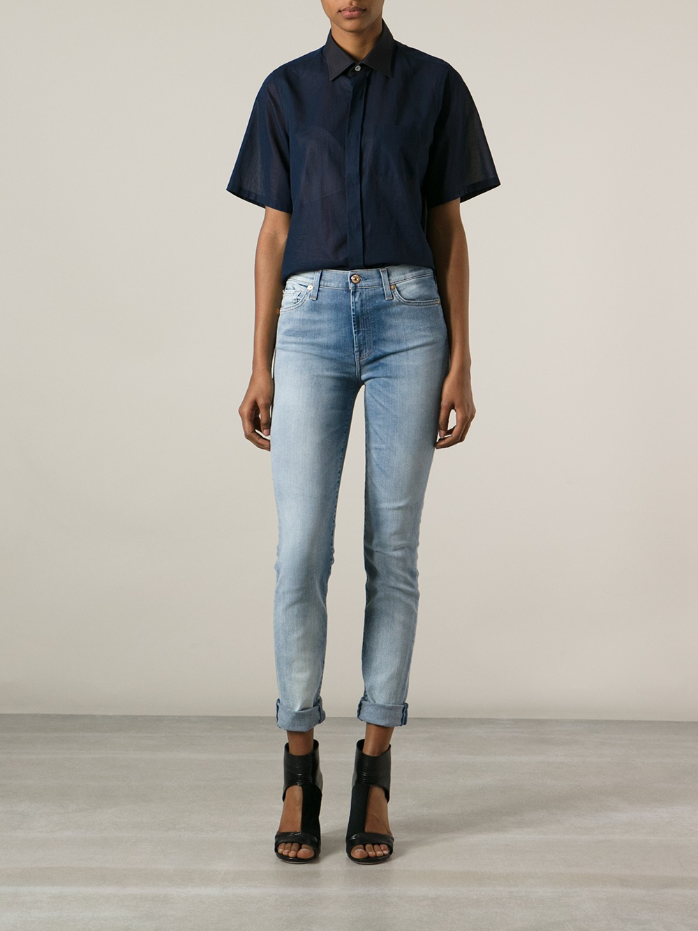 7 for all mankind high waisted slim fit jean in blue lyst. Black Bedroom Furniture Sets. Home Design Ideas