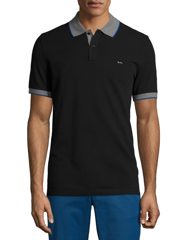 michael kors tape tipped short sleeve pique polo shirt in black for men lyst. Black Bedroom Furniture Sets. Home Design Ideas