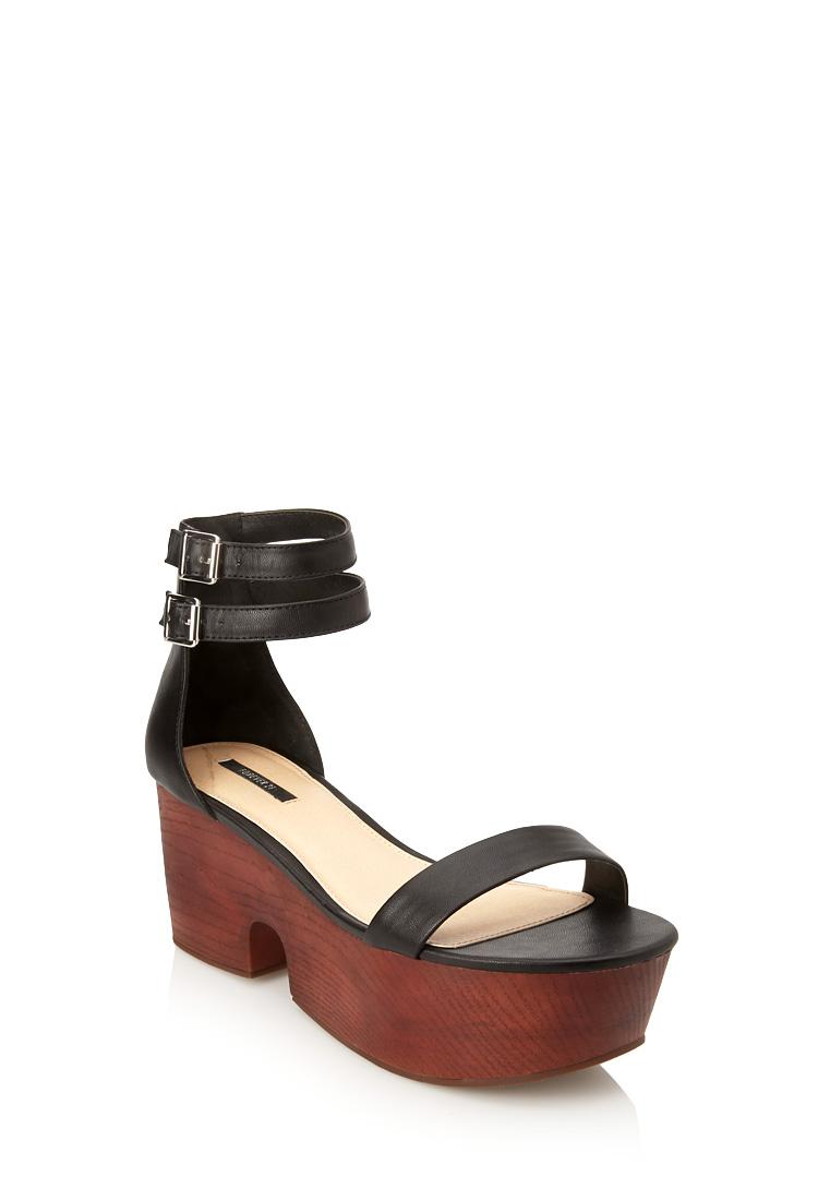 8e100bd84449 Forever 21 Wooden Flatform Sandals in Black - Lyst