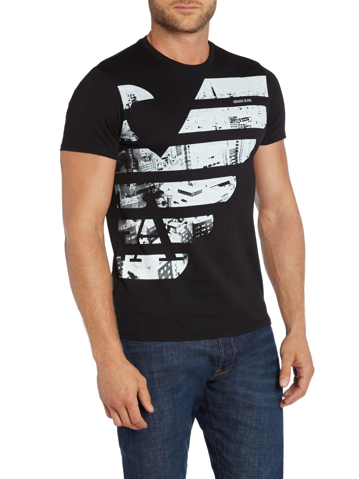 armani jeans slim fit half eagle logo printed t shirt in black for men. Black Bedroom Furniture Sets. Home Design Ideas