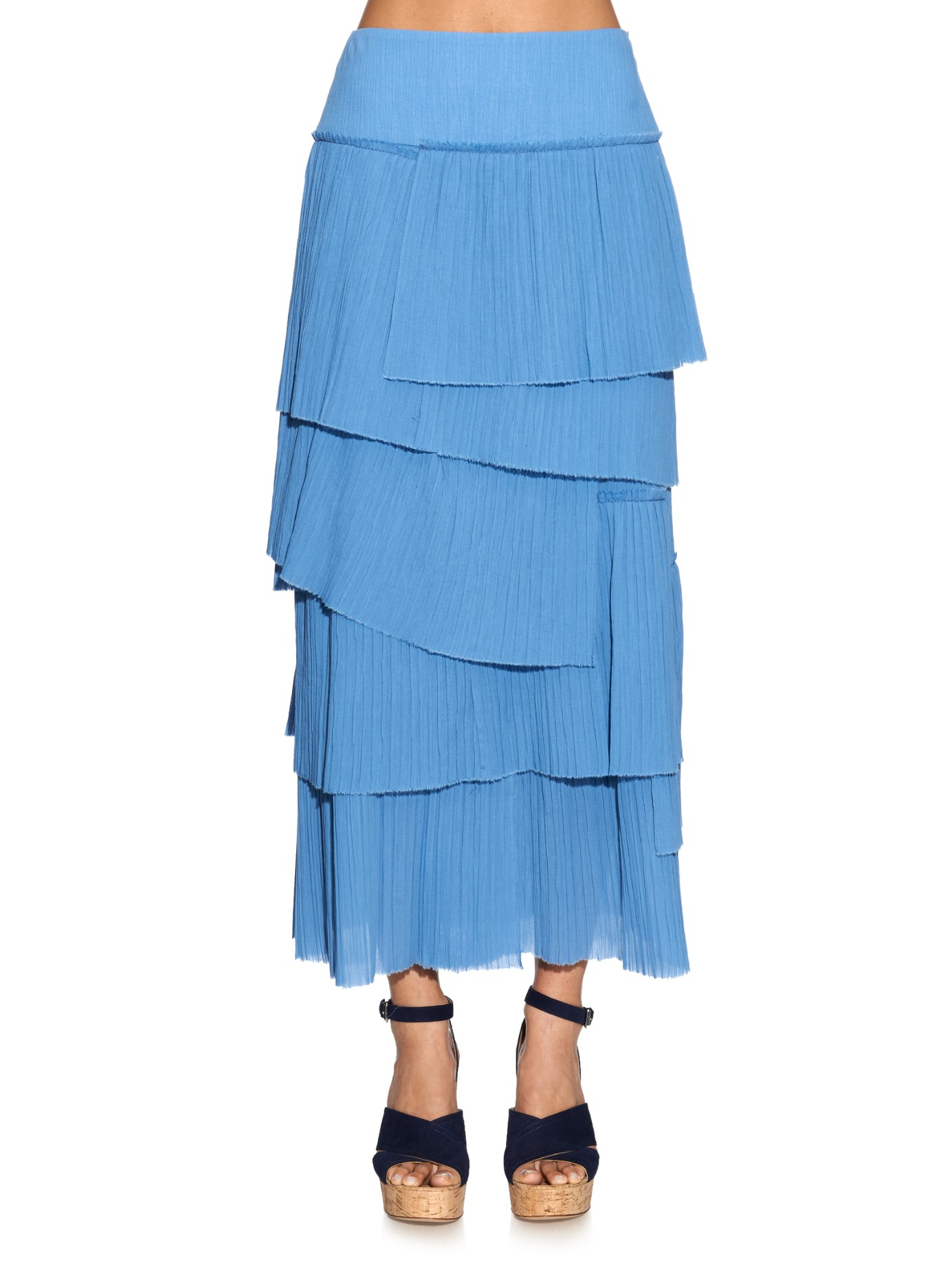 rykiel tiered pleated cotton skirt in blue lyst
