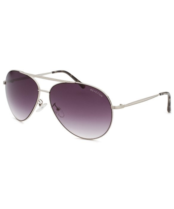 Kenneth Cole Reaction Aviator Sunglasses  kenneth cole reaction aviator silver tone sunglasses in metallic