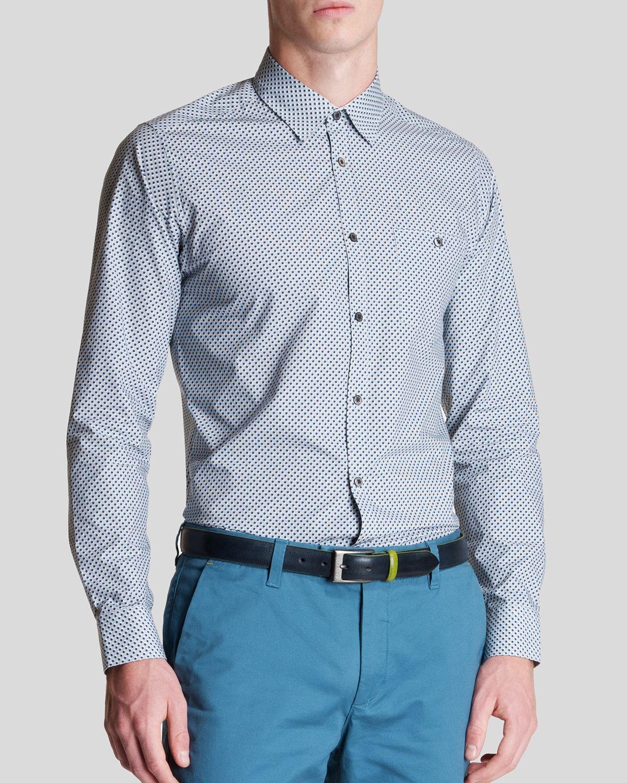 Lyst ted baker dotbiz polka dot print button down shirt for Button down polka dot shirt