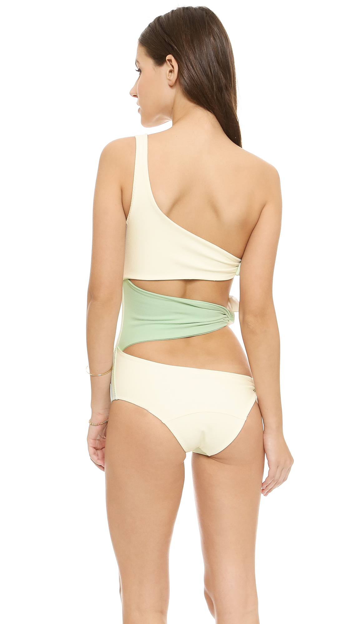 3966a3de7f9 Lisa Marie Fernandez Bianca Maillot - Mint/Cream Crepe in Green - Lyst