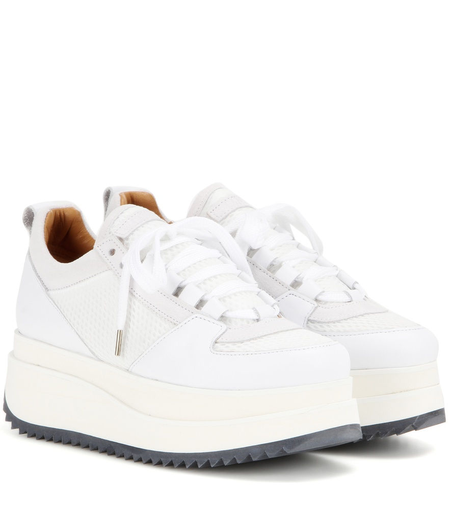 Ganni Naomi Leather And Mesh Sneakers