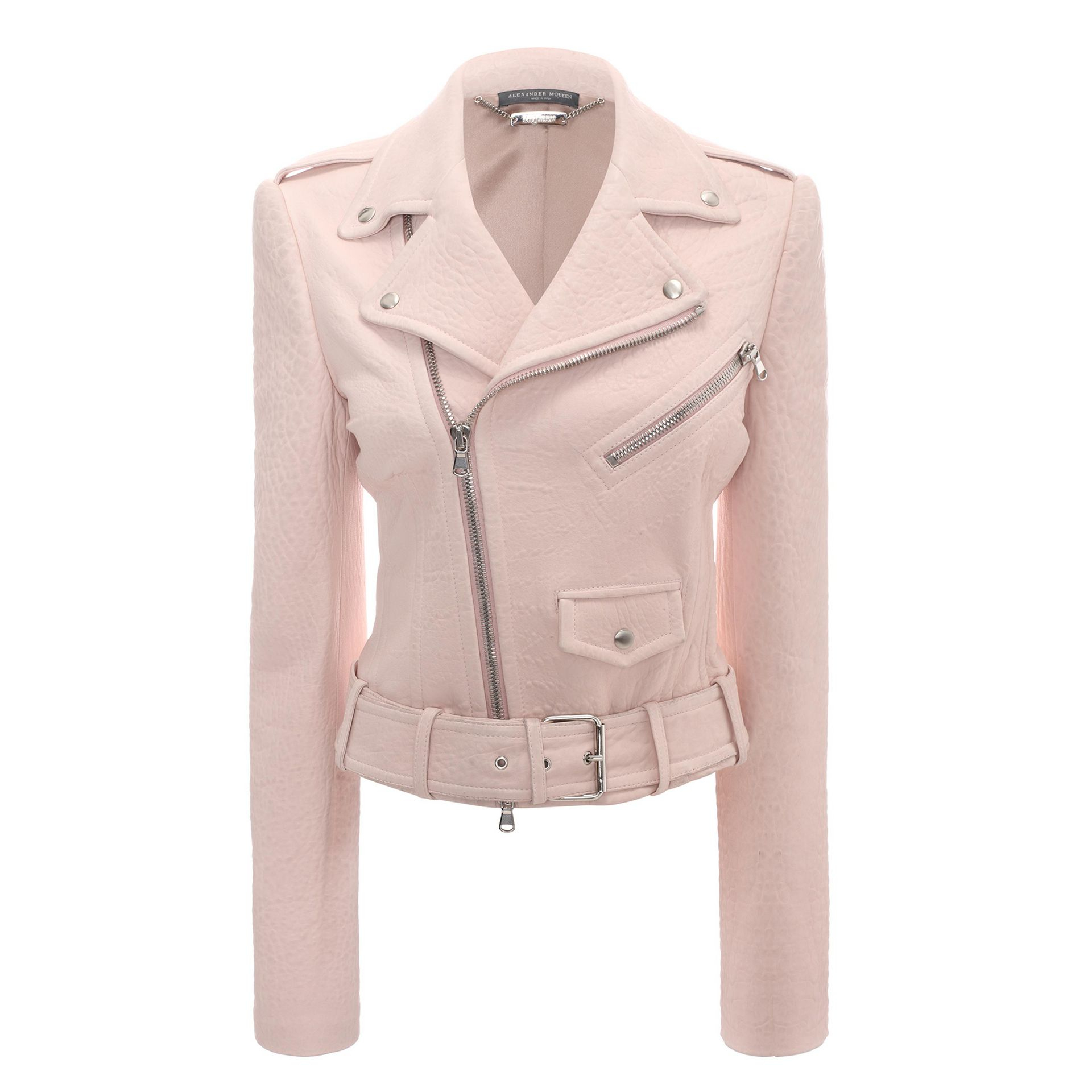 Alexander mcqueen Cropped Leather Biker Jacket in Pink | Lyst